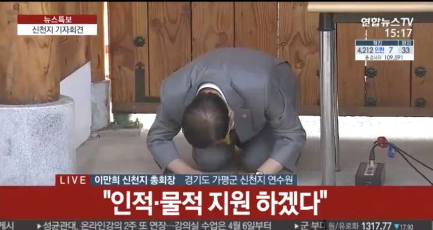 「我們真的沒有臉見人!」引爆南韓疫情,新天地耶穌教會創辦人李萬熙下跪認錯