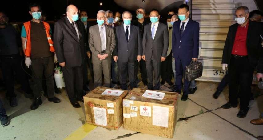 在場官員比援助物資還多!大陣仗舉行交接儀式 中國提供敘利亞2箱篩檢試劑