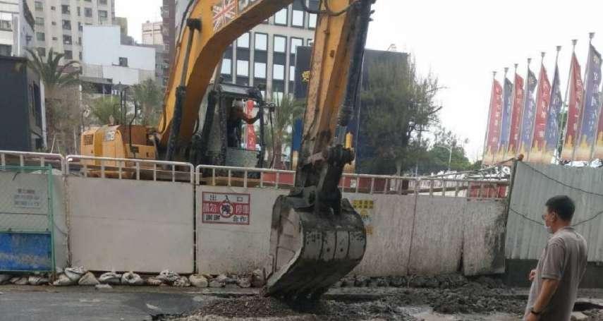 高市光復三街道路坍塌 建案工地連續壁坍孔惹禍