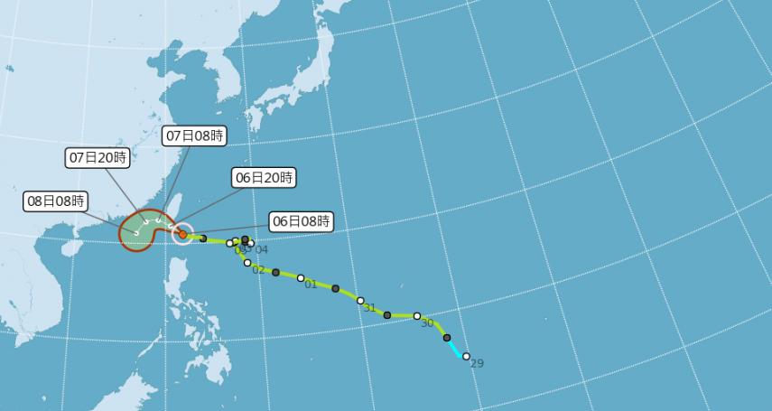 颱風「閃電」今天最接近、影響最大!氣象局:花東、恆春半島嚴防豪大雨