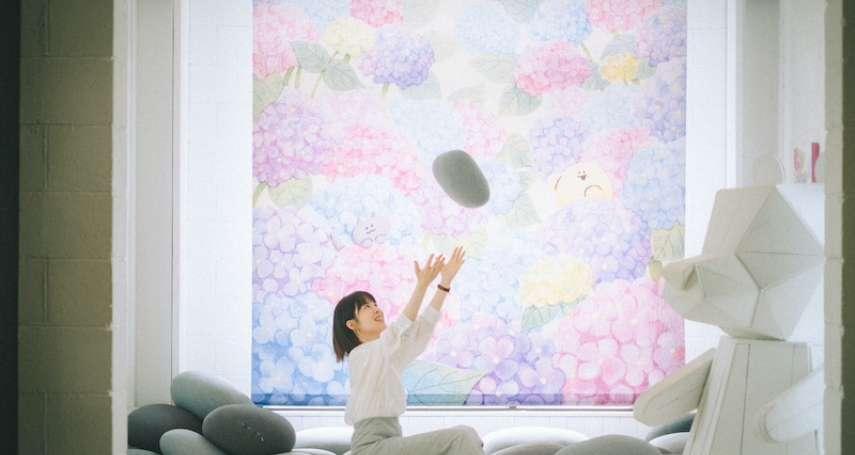 結合藝術與人文 繡球花布打造自然光攝影棚