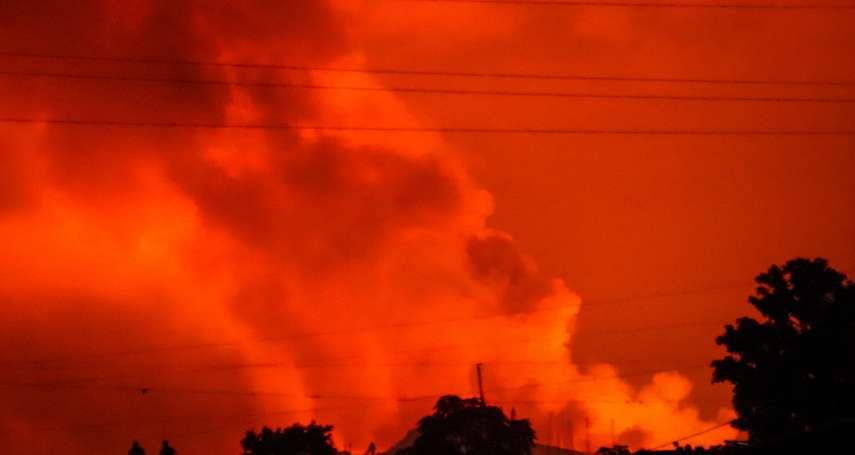 夜空被染紅!民主剛果火山噴發 上百名孩童失蹤