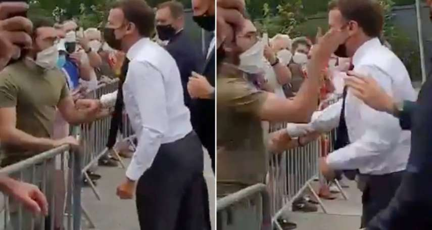影片曝光!法國總統馬克宏視察疫情 握手致意遭民眾甩巴掌